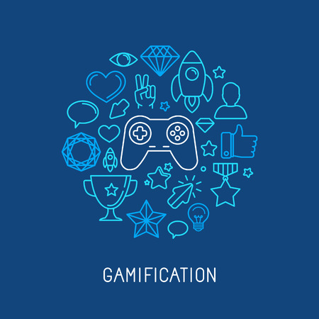 Illustration pour Vector gamification concepts - line icons and badges - image libre de droit