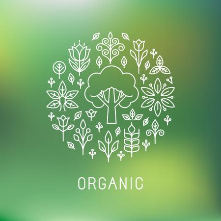 Ilustración de Vector organic - outline circle emblem - ecology and bio design elements - Imagen libre de derechos