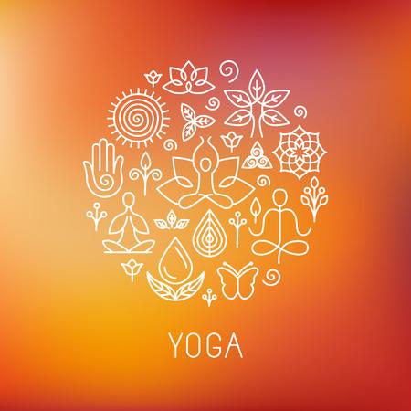 Ilustración de Vector yoga - icons and line badges - graphic design elements in outline style for spa center or yoga studio - Imagen libre de derechos