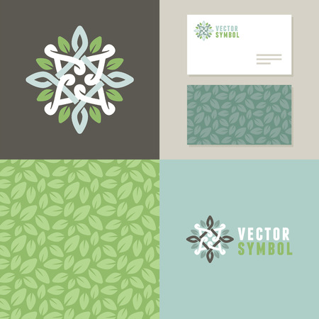 Illustration for Vector abstract emblem - outline monogram - flower symbol - set of design elements for organic shop or yoga studio - icon, pattern and card templates - Royalty Free Image