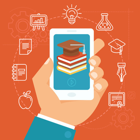Ilustración de Vector online education concept in flat style - hand holding mobile phone with educational app in the screen - distant e-learning - Imagen libre de derechos