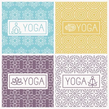 Illustration for yoga icons and line badges  - Royalty Free Image