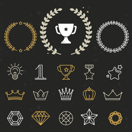 Illustration for Collection of winner awards and victory signs  - Royalty Free Image