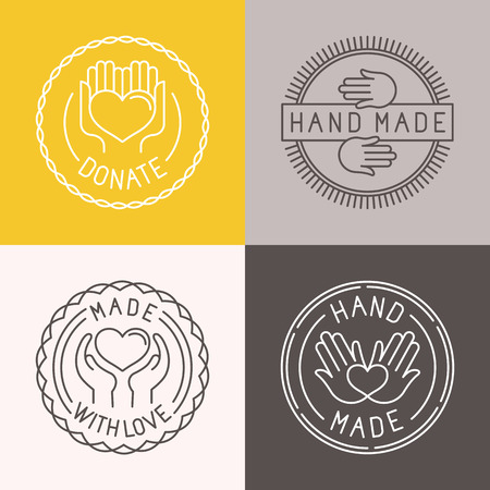 Illustration for Vector hand made labels and badges in linear trendy style - hand made, made with love, donate - Royalty Free Image
