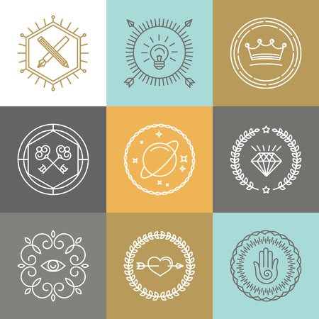 Ilustración de Vector abstract hipster signs and logo design elements in linear style - Imagen libre de derechos