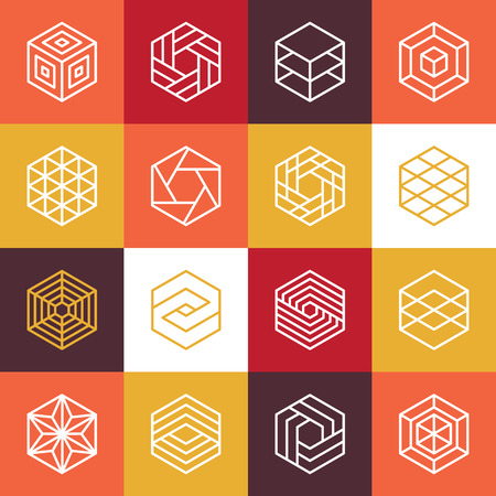 Illustration pour Vector linear hexagon and design elements - abstract icons for different business and technologies - image libre de droit