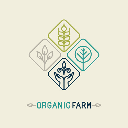 Illustration pour Vector agriculture and organic farm line logo - design elements and badge for food industry - image libre de droit