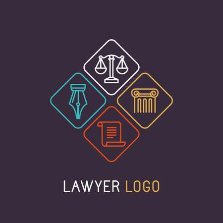 Illustration pour Vector linear and icon for lawyer or judical company - image libre de droit