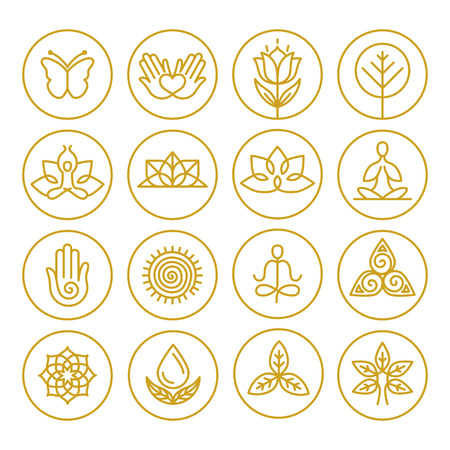 Ilustración de Vector yoga icons and round line badges - graphic design elements in outline style or templates for spa center or yoga studio - Imagen libre de derechos