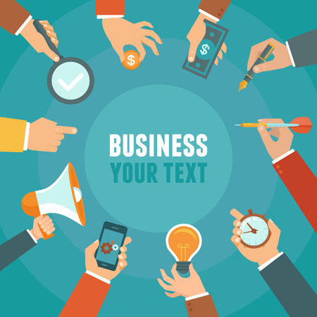 Illustration for Vector business and management concept in flat style - banner with copy space for text with businessman hands - Royalty Free Image