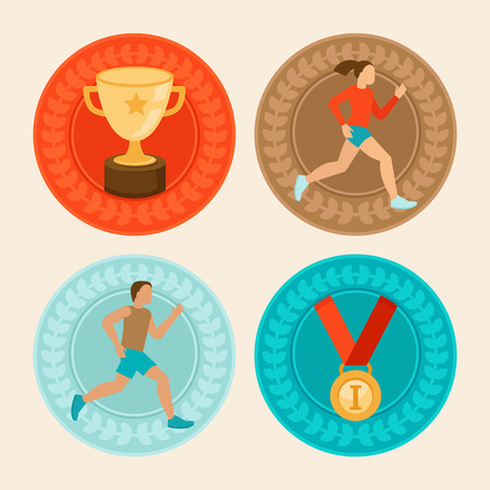 Ilustración de Vector achievement badges in flat style - marathon icons and signs - female and male runners - Imagen libre de derechos