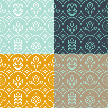 Ilustración de Vector mono line graphic design templates - decorative backgrounds with simple linear patterns - Imagen libre de derechos