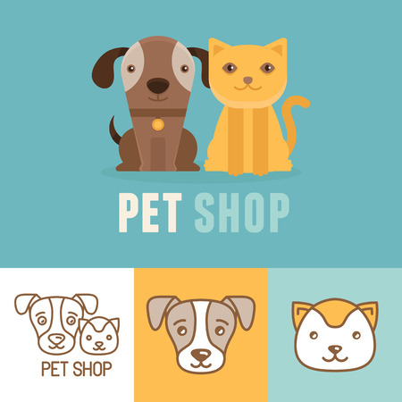Vector dog and cat icons.