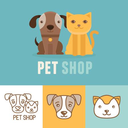 Ilustración de Vector dog and cat icons. - Imagen libre de derechos