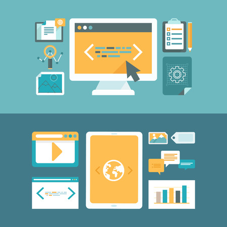Illustration pour Vector web development and digital content marketing concepts in flat style - icons and illustrations for horizontal website headers - image libre de droit