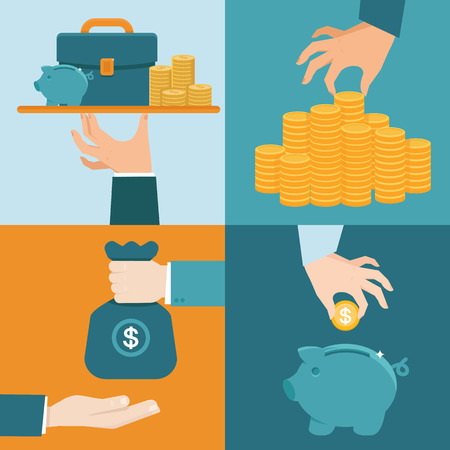 Ilustración de Vector set of banking concepts in flat style - businessman's hand with serve plate - special offer - investment and savings - Imagen libre de derechos
