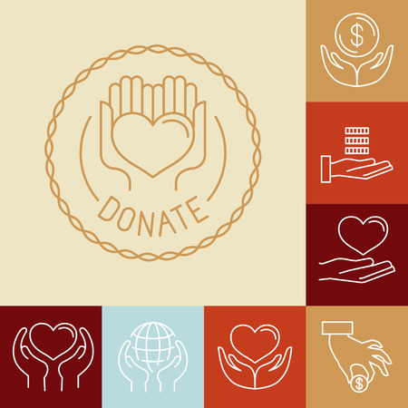 Illustration for Vector charity line icons and signs - volunteer and non profit organization icons - Royalty Free Image