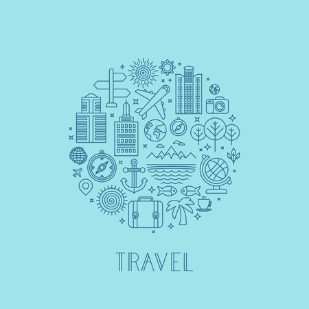 Illustration pour Vector travel icons in outline style - holiday and vacation signs - image libre de droit