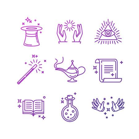 Ilustración de Vector magic related linear icons and signs - tricks and magician's objects - Imagen libre de derechos