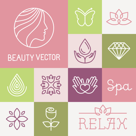 Illustration pour Vector spa and cosmetics  design templates in trendy linear style - flowers, leaves and icons - image libre de droit