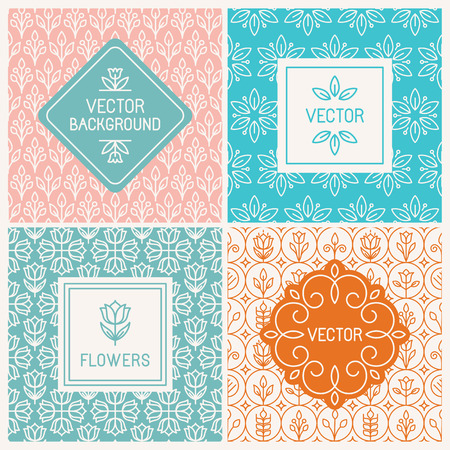 Illustration for Vector mono line graphic design templates - labels and badges on decorative backgrounds with simple patterns - floral logo design templates - Royalty Free Image
