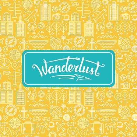 Photo pour Vector wanderlust logo - travel concept - hand-lettering design element on bright background with linear icons - image libre de droit