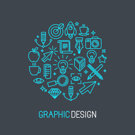 Illustration for Vector linear graphic design concept made of icons and signs - Royalty Free Image