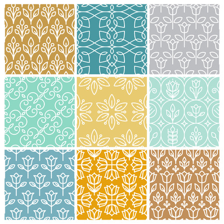 Ilustración de Vector set of linear simple patterns - abstract backgrounds and textures in trendy mono line style - Imagen libre de derechos