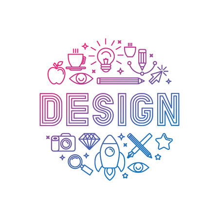 Ilustración de Vector linear logo design concept - illustration with icons and signs related to graphic design and creative process - Imagen libre de derechos