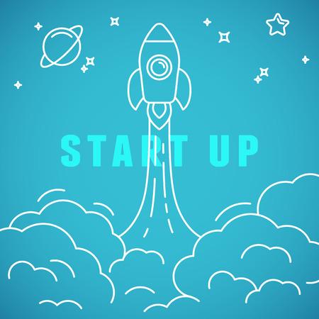 Ilustración de Vector start up concept in linear style - space ship launching - Imagen libre de derechos