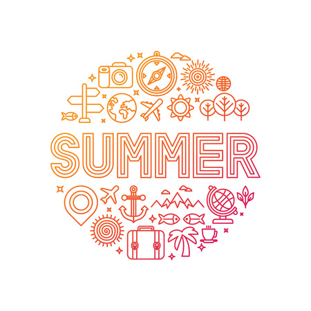 Illustration pour Vector summer lettering with linear icons and signs - travel and vacation concept - image libre de droit