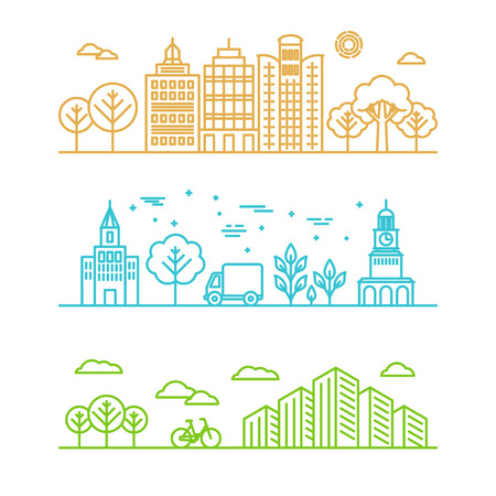 Illustration pour Vector city illustration in linear style - buildings and clouds - graphic design template - image libre de droit