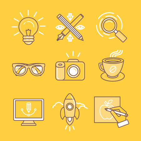 Illustration pour Vector linear icons and signs in yellow colors related to graphic design, branding and drawing - image libre de droit