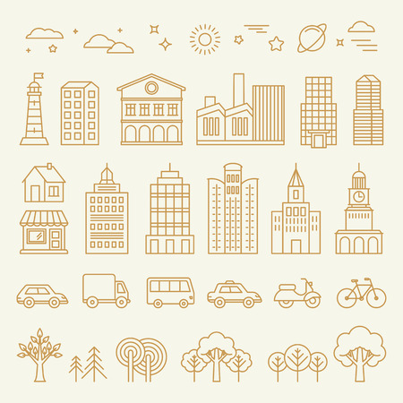 Illustration pour Vector collection of linear icons and illustrations with buildings, houses and architecture signs - design elements for city illustration or map - image libre de droit