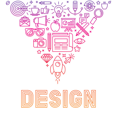 Illustration for Vector linear icons design concept - illustration with icons and signs related to graphic design and creative process - Royalty Free Image