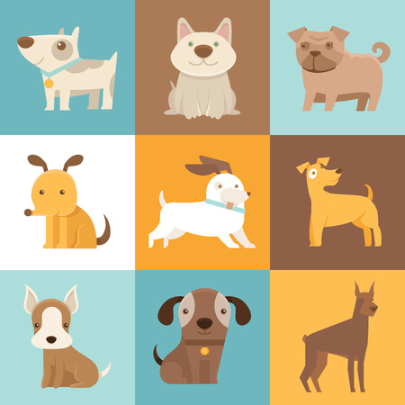 Illustration pour Vector set of cartoon illustrations in simple flat style - funny and friendly dogs and puppies - image libre de droit
