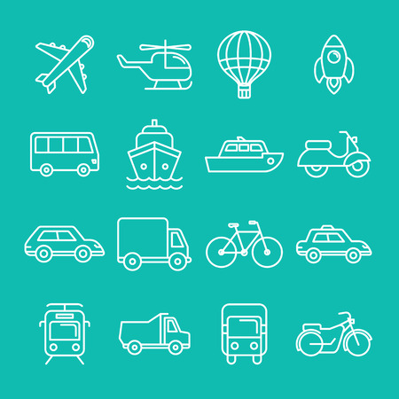 Vector transportation icons and signs in trendy mono line style - outline illustrations - different vehicles