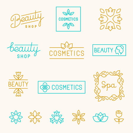 Illustration pour Vector set of linear design elements and logos for beauty shops and cosmetic industry - mono line lettering - image libre de droit