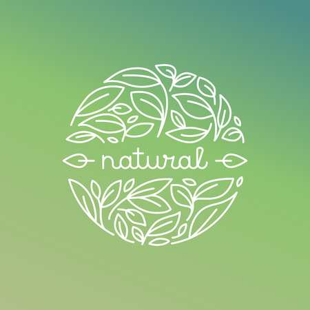 Illustration pour Vector natural label in trendy linear style - badge with green leaves - image libre de droit