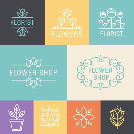 Photo for Vector floral and gardening logos and signs in trendy linear style - emblems for flower shop - Royalty Free Image