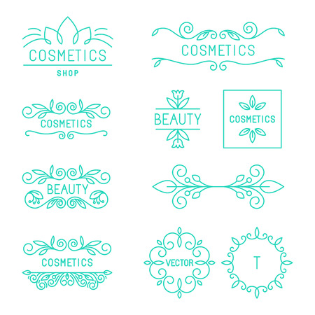 Illustration pour Vector beauty and cosmetics logos and labels in trendy linear style - organic and natural badges and icons - image libre de droit
