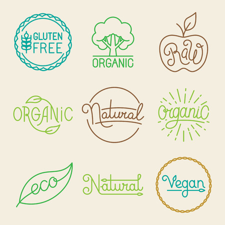 Ilustración de Vector labels in trendy mono line style - premium quality organic and natural badges for fresh farm products and food packaging - set of linear emblems and icons - Imagen libre de derechos