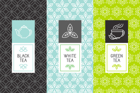 Illustration for Vector set of design elements and icons in trendy linear style for tea package - white,black and green tea - Royalty Free Image