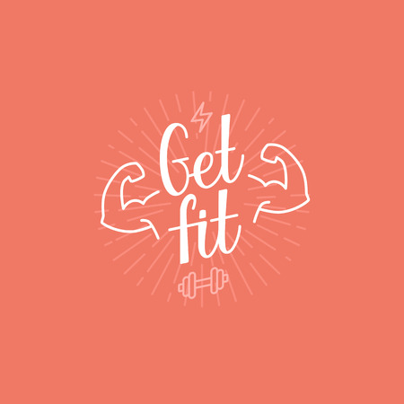 Photo for Vector sport motivational banner - get fit lettering - fitness poster concept - Royalty Free Image