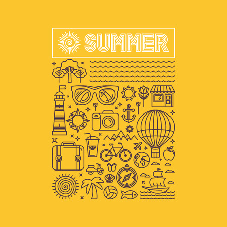 Illustration for Vector summer and vacation poster or print for t-shirt in trend linear style on yellow background - illustration with icons and sign - Royalty Free Image
