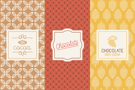 Illustration for set of design elements and seamless pattern for chocolate and cocoa packaging  - Royalty Free Image
