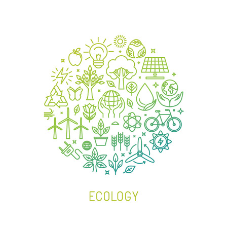 Illustration pour ecology illustration with icons and signs in linear style - image libre de droit