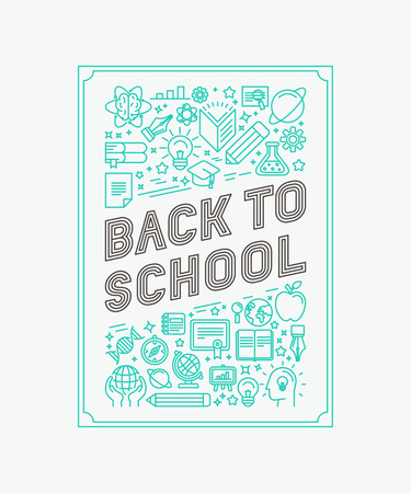 Foto de Vector back to school poster design in trendy linear style - mono line icons and letters - Imagen libre de derechos