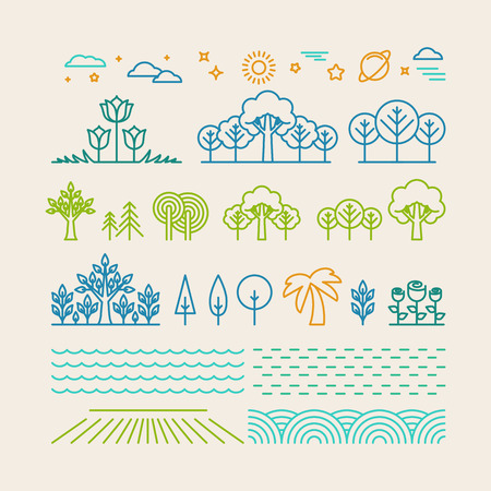 Illustration for Vector linear landscape icons in trendy mono line style - trees, flowers, clouds - Royalty Free Image