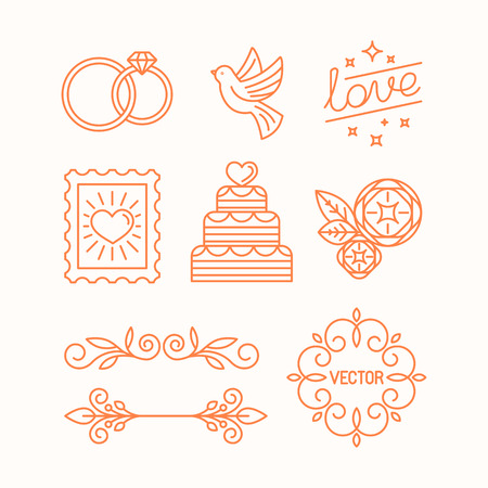Illustration pour Vector linear design elements, icons and frame for wedding invitations and stationery - decoration set in trendy linear style - image libre de droit